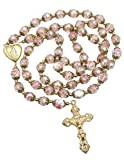 Nazareth Store Rosario rosa católico de cuentas de oro rosario de flores collar con cuentas Santa María medallón corazón Medalla & Cruz religiosa amuleto para mujer