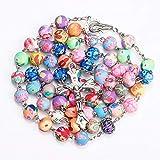 Pioneer Clan Polímeros arcilla cilíndrica perla católica rosa collar representación color perla Cruz collar religioso (modelo 2)