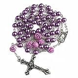 Nazareth Store Collar de Rosario de Perlas púrpuras católicas 6 Piezas Medalla de Lourdes de Rose y Cruz NS