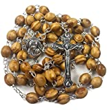 Rosario con perlas de madera de olivo para oración católica, collar con medalla de Tierra Santa y cruz de metal